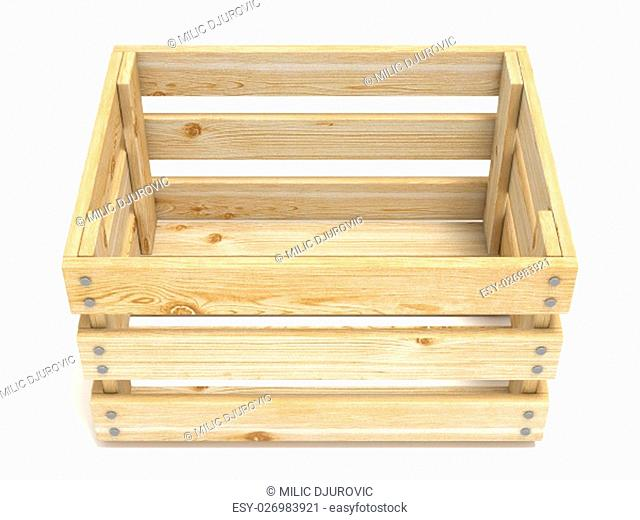 Empty wooden crate. Front view. 3D render illustration isolated on white background