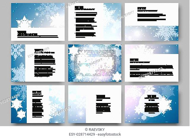 Set of 9 vector templates for presentation slides. Blue abstract winter background. Christmas vector style with snowflakes
