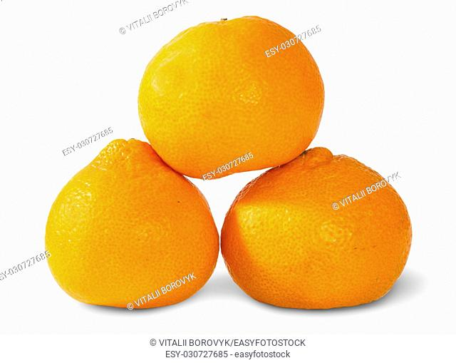 Pyramid Of Three Ripe Tangerines Isolated On White Background
