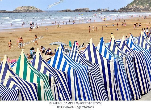 Beach cabins. Zarautz. Gipuzkoa, Basque Country, Spain
