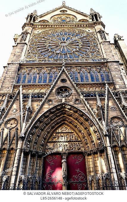 Red Door Notre Dame Cathedral, Paris. France