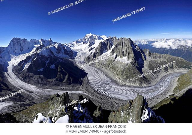 France, Haute Savoie, Chamonix, the Mer de Glace, Mont Blanc Massif