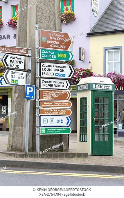 Traditional Telefon - Telephone Cabin and Street Direction Signs, Westport; Ireland