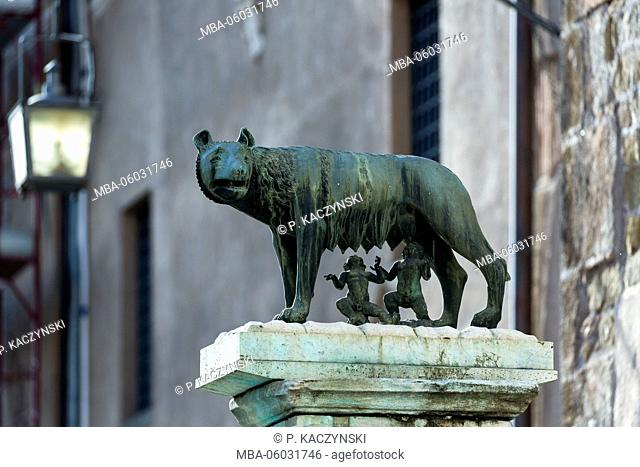 Bronze sculpture of the she-wolf with Romulus and Remus, Forum Romanum, UNESCO World Heritage Site