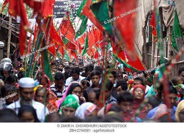 DHAKA, BANGLADESH - OCTOBER 12 : Bangladeshi Shiite Muslims attend mourning procession, at the day of Ashoura during the holy month of Muharram in Dhaka