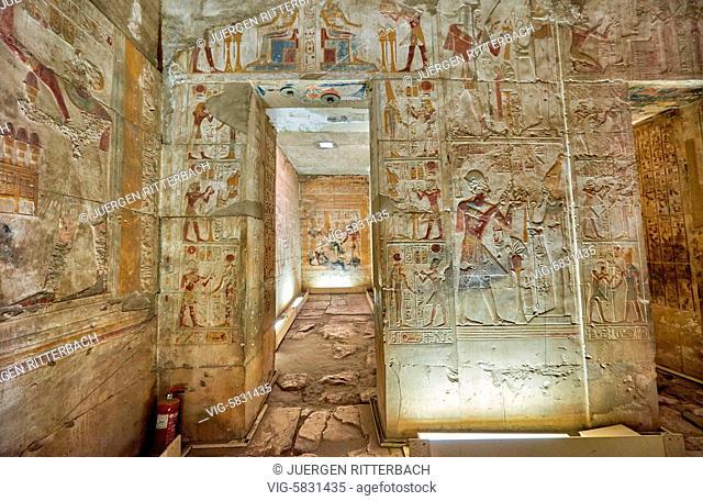 EGYPT, ABYDOS, 07.11.2016, Temple of Seti I , Abydos, Egypt, Africa - Abydos, Egypt, 07/11/2016