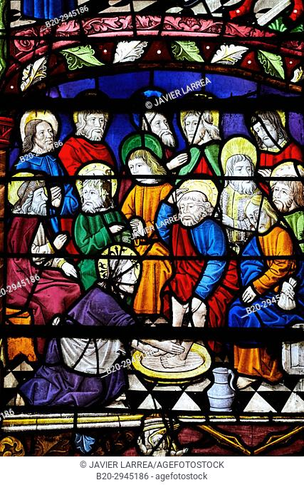 La Passion, a. 1494, Stained glass windows, Sainte-Madeleine church, Troyes, Champagne-Ardenne Region, Aube Department, France, Europe