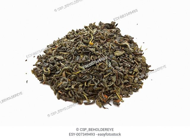 Green tea leaves isolated