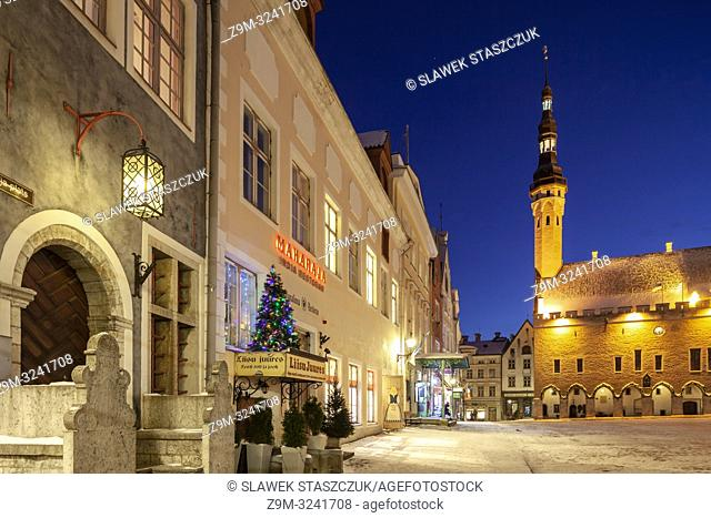 Winter evening at the town hall in Tallinn old town, Estonia