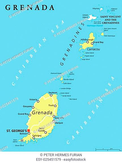 Grenada map capital Stock Photos and Images | age fotostock