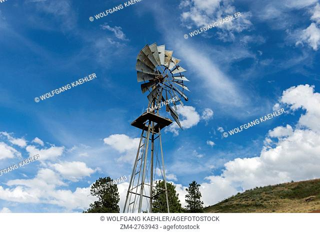 Old windmill at a farm near Colfax in Whitman County in the Palouse, Washington State, USA