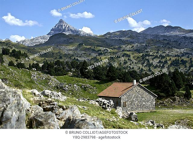 view of the st martin stone pass on the peak of Anie in the background. GR10. . The neck of the Pierre Saint-Martin is a mountain pass of the Pyrenees