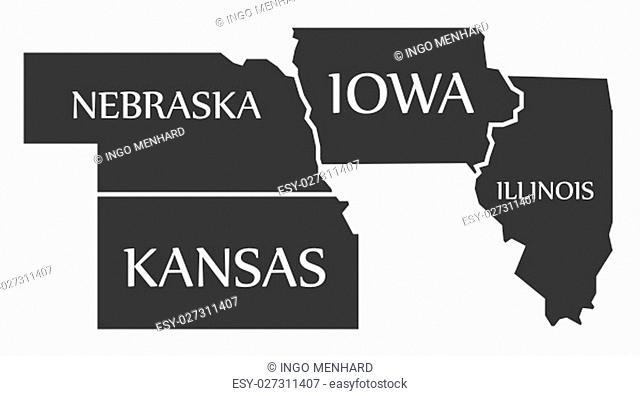 Nebraska - Kansas - Iowa - Illinois Map labelled black illustration