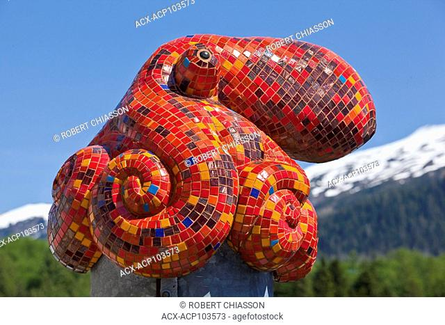 Injected foam sculpture covered in small tiles and mirrors entitled Octopus and created by Ketchikan artists Terry Pyles and Dave Rubin