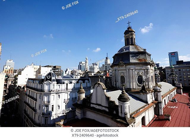 overlooking rooftops in monserrat looking towards san francisco church Buenos Aires Argentina