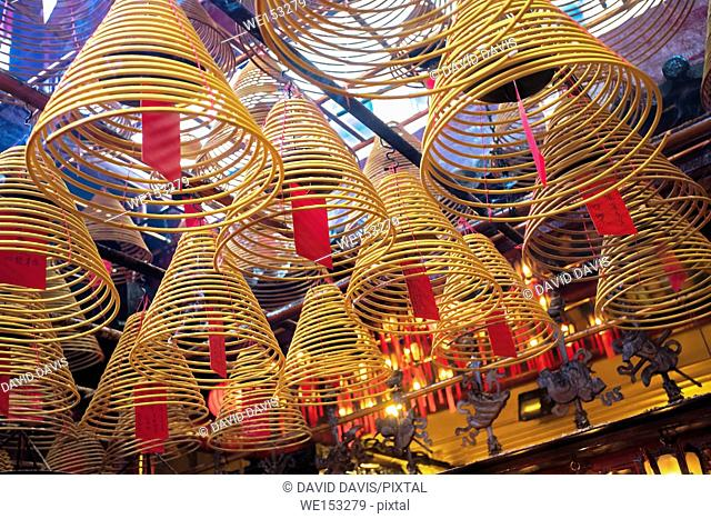 Incense burning in the Man Mo Temple, the most famous Taoist temple in Hong Kong China