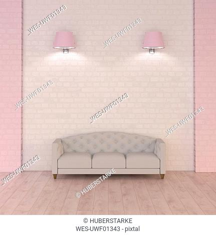Couch under pink wall lamps, 3d rendering
