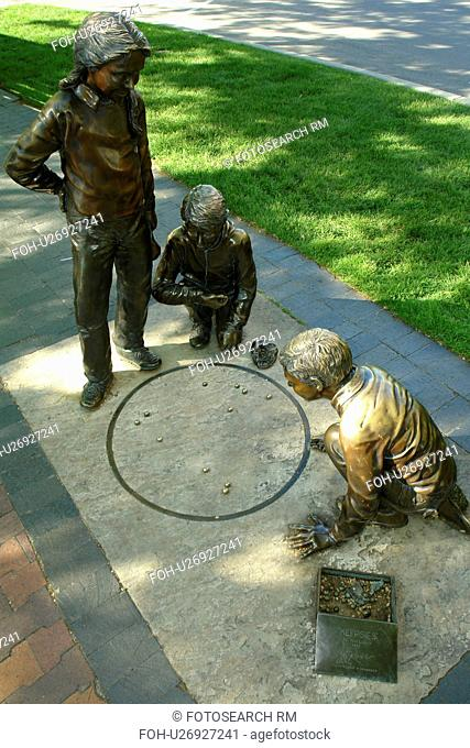 Boise, ID, Idaho, downtown, plaza, statue of children playing marbles