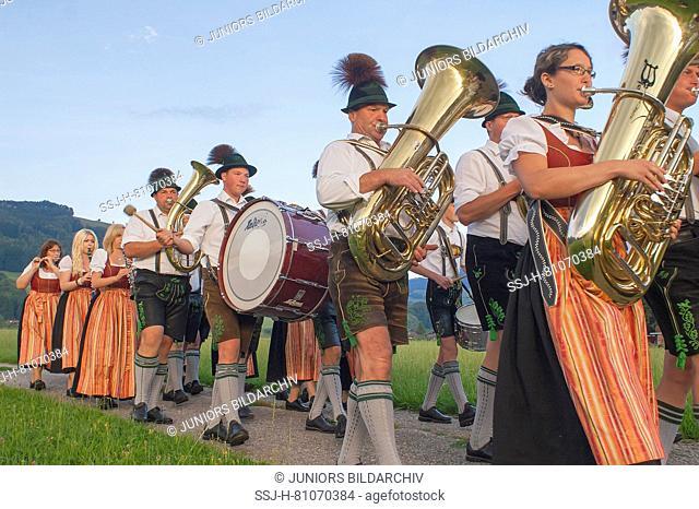 Traditional Bavarian brass band marching. Berchtesgadener Land, Rupertiwinkel, Upper Bavaria, Germany