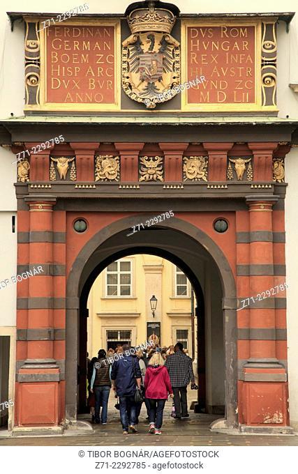 Austria, Vienna, Hofburg Palace, gate of Schweizerhof courtyard