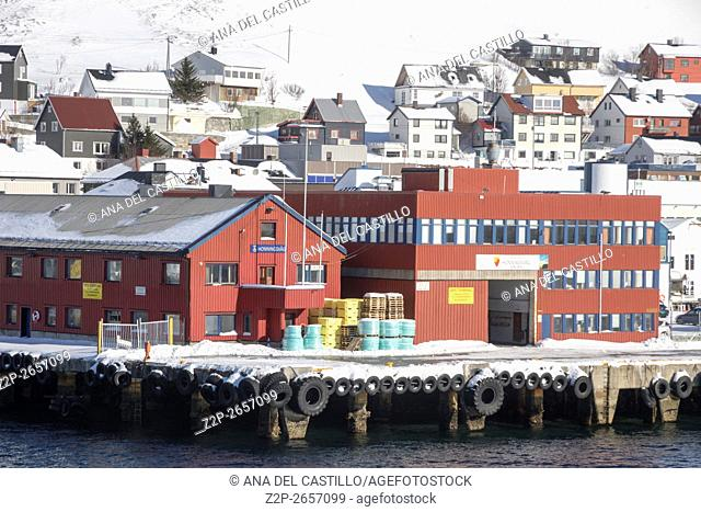 Honningsvag is the northernmost city of Norway. Nordkapp municipality Finnmark county. The harbor terminal on March 25, 2016 in Norway