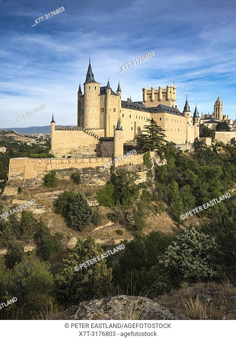 The Alcazar with the Cathedral and city of Segovia in the background, Segovia, Central Spain