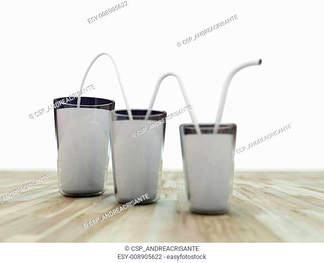 milk glasses connected by a white straw