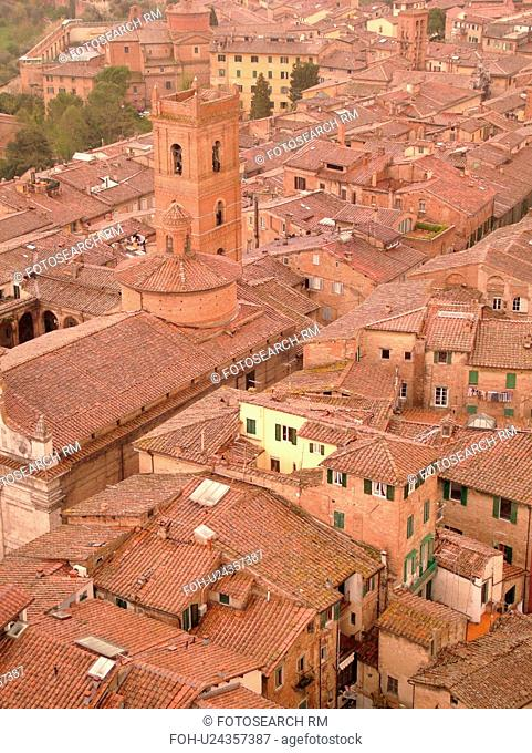Siena, Tuscany, Italy, Toscana, Europe, Aerial view of the rooftops and city of Siena from The Torre del Mangia
