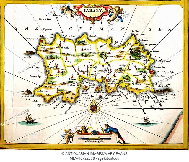 17th century map of Jersey