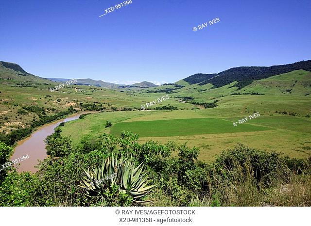 Community farming in fertile valley in the Midlands, Kwazulu Natal, South Africa  Color