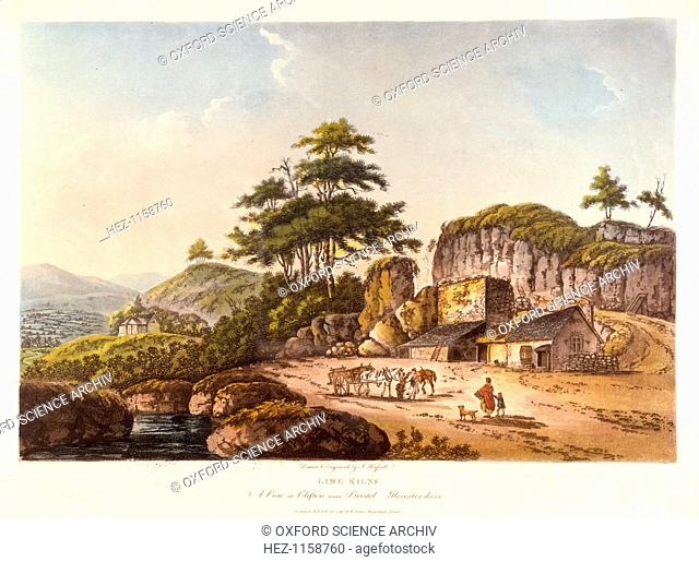 'Lime Kilns. A View at Clifton near Bristol, Gloucestershire', 1798. The kilns were filled from the top with limestone and a fuel such as culm (coal or...