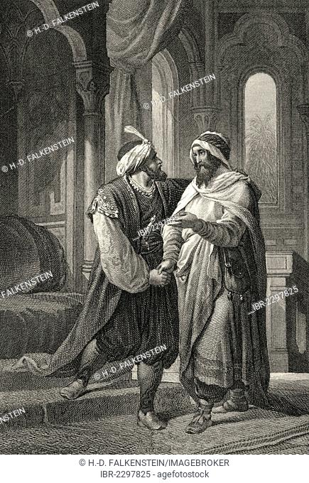 Historic steel engraving by Ferdinand Rothbart, 1823 - 1899, a German illustrator, Sultan Saladin and Nathan the Wise, a classic drama by Gotthold Ephraim...