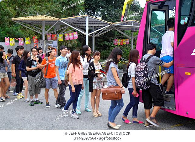 China, Hong Kong, New Territories, Sha Tin, Ma Liu Shui, New Asia College, Chinese University of Hong Kong, free campus shuttle bus, student, Asian, teen, boy