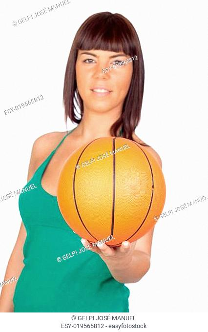 Beautiful girl with a basketball