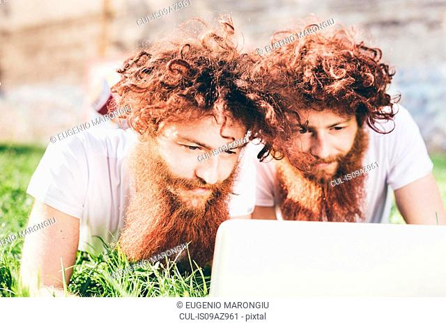 Young male hipster twins with red hair and beards lying in park browsing laptop
