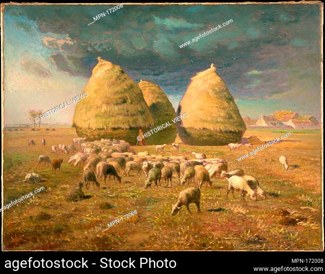 Haystacks: Autumn. Artist: Jean-François Millet (French, Gruchy 1814-1875 Barbizon); Date: ca. 1874; Medium: Oil on canvas; Dimensions: 33 1/2 x 43 3/8 in