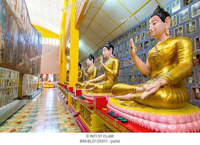 Buddha statues in Wat Chayamangkalaram temple, George Town, Penang, Malaysia
