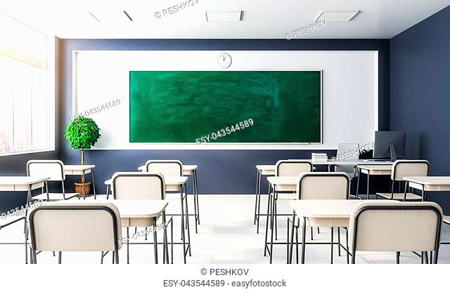 New classroom interior with empty chalkboard, furniture and daylight. Education and school concept. Mock up, 3D Rendering