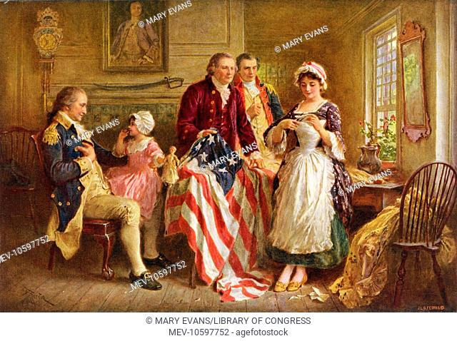 Betsy Ross, 1777. Betsy Ross showing Major Ross and Robert Morris how she cut the stars for the American flag; George Washington sits in a chair on the left