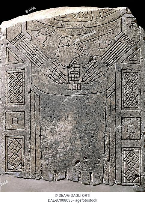 Civilization 'of Dauni, VII / VI century BC stele engraved with figures of gloves and jewels  Manfredonia, Castello Svevo-Angioino Museo Archeologico Nazionale...