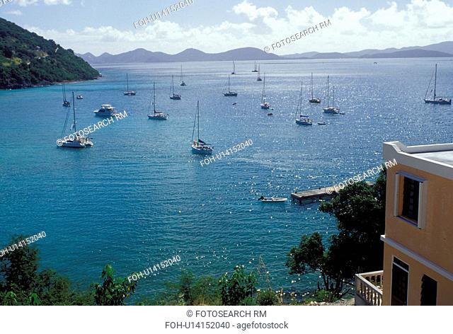 Jost Van Dyke, British Virgin Islands, Caribbean, BVI, Scenic view of Great Harbor on Jost Van Dyke Island on the Caribbean Sea