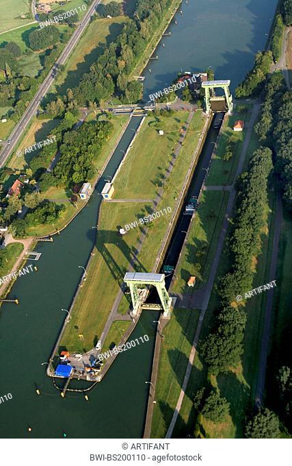 Wesel-Datteln Canal lock, Germany, North Rhine-Westphalia, Ruhr Area, Datteln