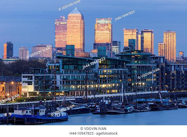 England, London, River Thames and Canary Wharf Skyline at Dusk