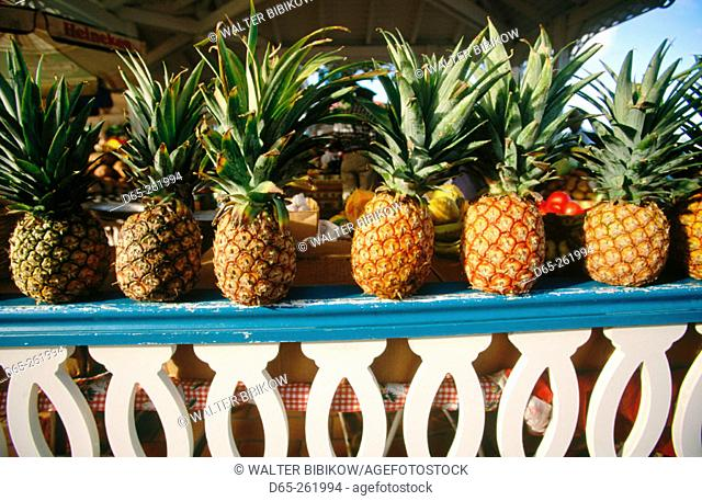 Pineapples. Saturday market. Marigot. Saint Martin. French West Indies. Caribbean