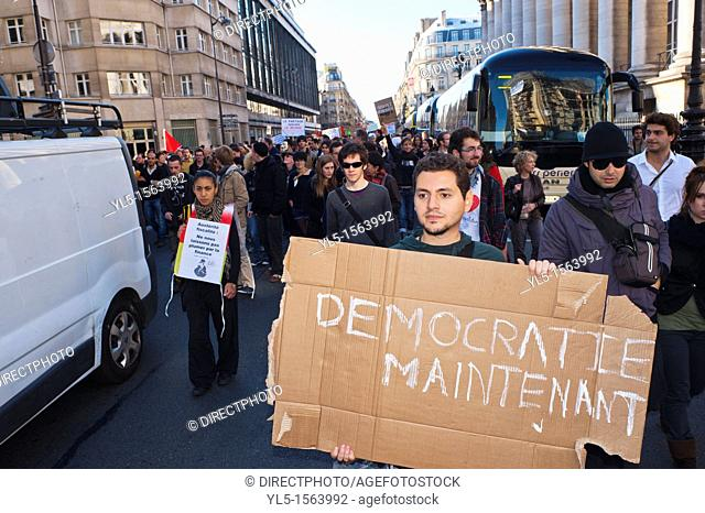 Paris, France, Occupy France, Indignants, Demonstration, French Young People Marching with Signs Protesting Against Corporate Greed and Government Ineptitude