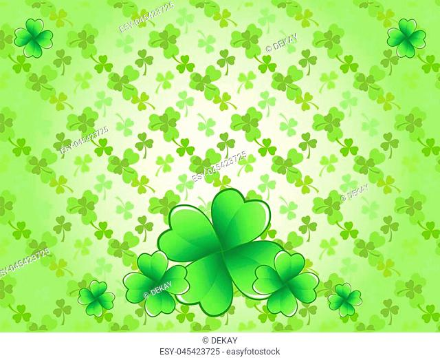 Light green Saint Patrick's Day frame with four-leaf clover shamrock leaves. Irish festival celebration greeting card design background