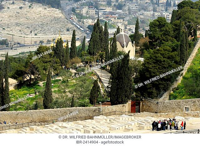 View from the Mount of Olives over the Jewish cemetery on the Dominus Flevit Church, Jerusalem, Israel, Middle East, Asia