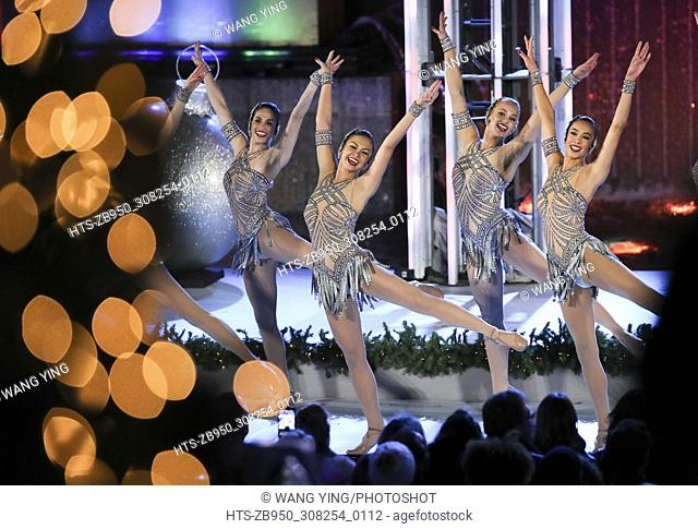 (171130) -- NEW YORK, Nov. 30, 2017 () -- The Rockettes perform during the 85th Christmas Tree Lighting Ceremony in Rockefeller Center in New York