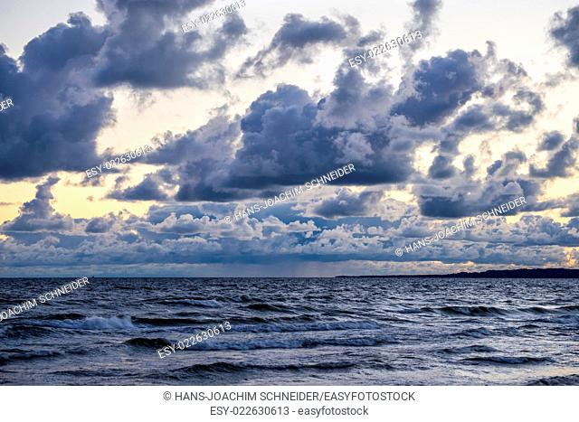 Baltic Sea with dark sky