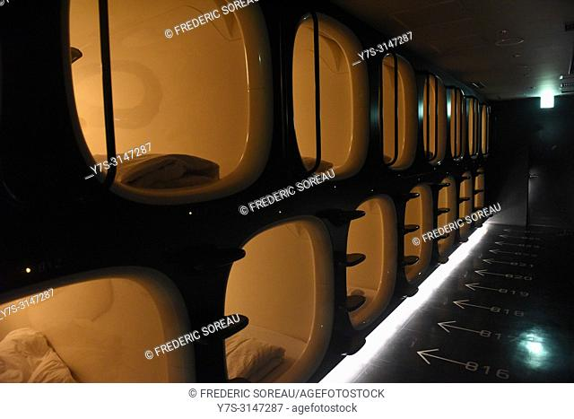 Interior view of capsule hotel in Kyoto, Japan, Asia